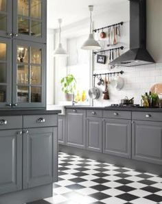 Ikea Lidingo Grey Kitchen. ANOTHER example of Grey kitchen with black and white floors.