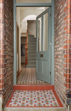 Bespoke Pattern, Victorian Floor Tiles by Original Style This popular and versatile range of plain colours and decorated tiles. Victorian Floor Tiles can be used for paths, patios and porches as well as hallways, kitchens, bathrooms and conservatories. Victorian Hallway, Victorian Front Doors, Victorian Tiles, Victorian Terrace House, Tiled Hallway, Hallway Flooring, Modern Hallway, Porch Flooring, Flooring Tiles