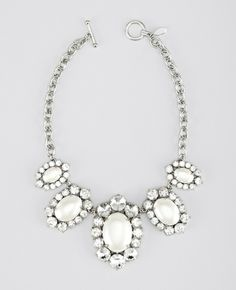 Oval Pearlized Statement Necklace - Lyst (Ann Taylor)