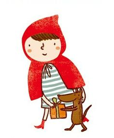 possibly the cutest wolf and red riding hood illustration