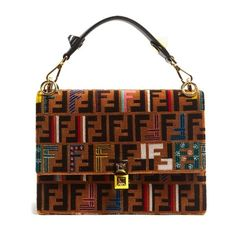 Fendi Kan I logo-print velvet shoulder bag ($7,150) ❤ liked on Polyvore featuring bags, handbags, shoulder bags, brown multi, fendi handbags, studded purse, brown handbags, studded handbags and fendi purse