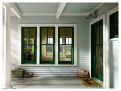 dark windows white trim
