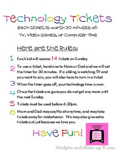 30 minute technology tickets and rules (I personally think 7 hours a week is a l. - 30 minute technology tickets and rules (I personally think 7 hours a week is a lot so would probably revamp that when our kids start watching TV somed. Rules For Kids, Chores For Kids, Activities For Kids, Toddler Chores, Parenting Advice, Kids And Parenting, Gentle Parenting, Peaceful Parenting, Technology Tickets
