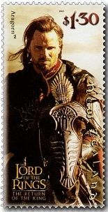 Virtual New Zealand Stamps: Lord of the Rings - The Hobbit - An Overview.  Aragorn