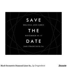 Black Geometric Diamond Lines Save The Date