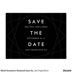 Black Geometric Diamond Lines Save The Date