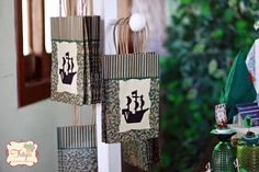 Pirate ship silhouette on the gift bags