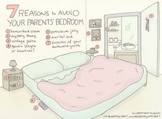Here's my newest comic for BuzzFeed Shift: 7 Reasons To Avoid Your Parents' Bedroom