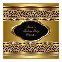 Birthday Party Elegant Gold Black Leopard Custom Invitation