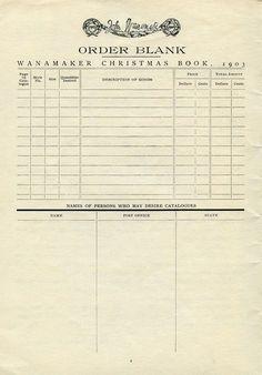 vintage ephemera, antique catalogue order form, old paper graphics, vintage accounting page, junk journal printable