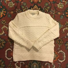 madewell station pullover sweater c0329 || DETAILS A chunky knit sweater that's super-lightweight (thanks to a special yarn), this lean mixed-stitch pullover wears like a sweatshirt.   •True to size. •Cotton/poly. •Dry clean. •Import. Madewell Sweaters Crew & Scoop Necks