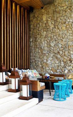 Einstein & Associates have designed Lemongrass restaurant in Bogor, West Java, Indonesia. Situated near Presidential Bogor Palace Filipino Interior Design, Stone Architecture, Hotel Interior Design, Tropical Design, Modern House, Tropical Houses, Tropical Architecture, Resort Design, Stone House