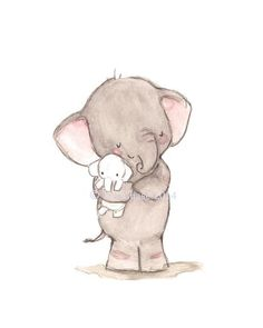 "Children's Art -- ""ELEPHANT LOVE"" -- Archival Print"