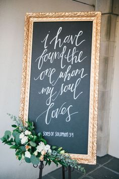 Elegant gold framed hand-calligraphed chalkboard: http://www.stylemepretty.com/virginia-weddings/norfolk/2016/09/20/classic-elegance-in-a-breathtaking-museum-setting/ Photography: Still 55 - http://www.still55weddings.com/