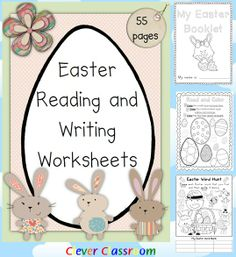 Easter Reading and Writing Worksheets PDF file  This resource is full of printer friendly worksheets that are ready to go for Easter this year.   Your download includes worksheets for; reading, handwriting, spelling and writing all for the K-1 classroom.