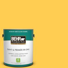 BEHR Premium Plus 1-gal. #330B-6 Lemon Sorbet Zero VOC Semi-Gloss Enamel Interior Paint