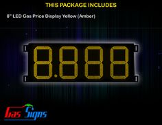 8 Inch 8.888 LED Gas Price Display Yellow with housing dimension H293mm x W632mm x D55mmand format 8.888 comes with complete set of Control Box, Power Cable, Signal Cable & 2 RF Remote Controls (Free remote controls).