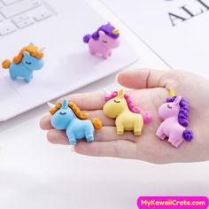 12 UNICORN RAINBOW STAR HEART ERASERS RUBBER CUTE KAWAII GIRL PARTY BAG FAVOUR