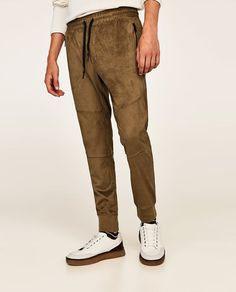 FAUX SUEDE TROUSERS-Joggers-TROUSERS-MAN | ZARA United States