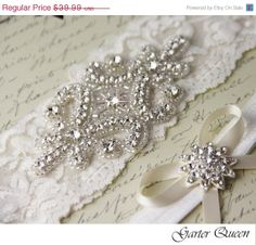 SALE Wedding Garter Set Bridal Garter Light Ivory Stretch Lace Keepsake and Toss garters, Rhinestone and Crystal garters
