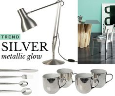 Trend alert: Silver The #sophisticated #shimmer of a #timeless #metallic #color #silver #decorationideas #kitchenware #homedesign #designlovers #sale #bestbuys Shop designer cutlery, mugs, tablelamp and stool, on sale at http://www.internistore.com/