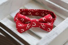 Horseshoe Bow Tie Red and Cream  by uhohcompany on Etsy