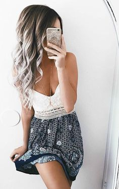 Flowers and Lace Mini Dress