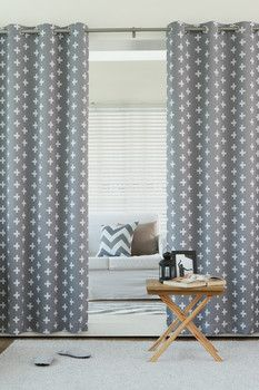 Best Home Fashion Inc. Plus Printed Room Darkening Grommet Top Curtains - Set of 2 Panels - Grey