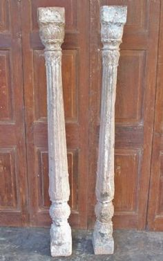 Pair of 19th Century Mughal Sandstone Pillars ;