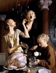 """Krzysztof Piotrowski na Twitterze: """"John Currin ,ur.1962  Święto dziękczynienia 2003 Trzy kobiety. Ta sama twarz ukazana z trzech różnych perspektyw... Spójrz ~~  https://t.co/j0xaqmpvrV"""""""