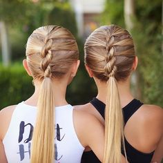 these rope twists to ponytails! Quick, gorgeous, & stay in great for dance & sports! I also love when they wear the same hairstyle!  #twinshair #hairideas #hairinspo #hairinspiration #braidingmommies #cutegirlshairstyles #hairofinstagram #ropetwists #ponytail #beyondtheponytail