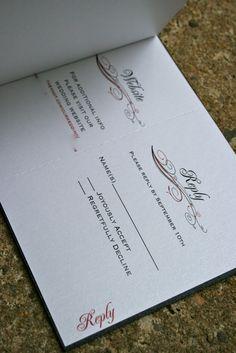 Black & Red Flourish Booklet Wedding Invitation RSVP Card
