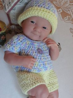e32f203e0ae Crochet outfit for 14 inch Doll La Newborn Berenguer Boy Girl Purple  Elephant Pastel Yellow Blue