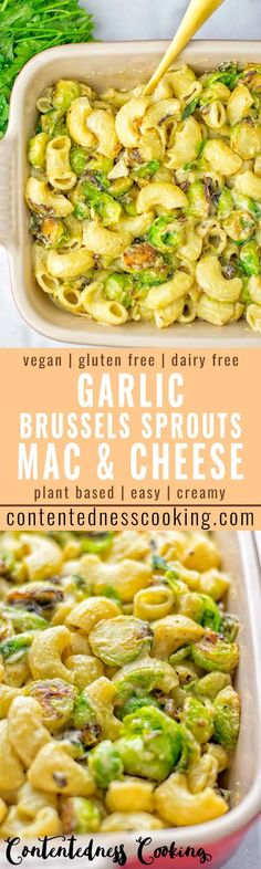 This Garlic Brussels Sprouts Mac and Cheese is entirely vegan gluten free and super easy to make Its an amazing comfort food for dinner lunch meal prep work lunches date. Vegan Dinner Recipes, Dairy Free Recipes, Veggie Recipes, Whole Food Recipes, Vegetarian Recipes, Cooking Recipes, Healthy Recipes, Gluten Free, Vegetarian Dinners
