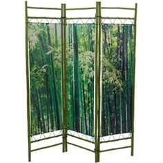 This room divider combines the natural materials of bamboo poles and photography creating an impressive decorative space divider and accent screen.  Sturdy cuts of bamboo poles create a natural frame panel with a vibrant photograph of bamboo trees printed on stretched canvas.