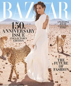 Stunning: Angelina Jolie was a wonder in white as she is featured on the cover of the 150t...