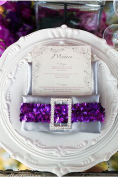 Sparkly menu details via StyleUnveiled.com / Michelle Garibay Events / Radiant Orchid / Leah Marie Photography