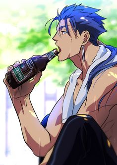 #Lancer #FateStayNight #anime #men #art #summer #beer
