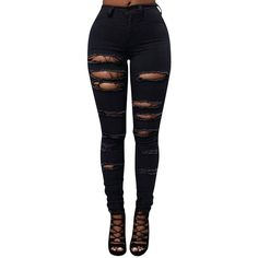 Womens Sexy Cut Out Ripped Plain Denim Jeans Black (£23) ❤ liked on Polyvore featuring jeans, pants, bottoms, momma, black, destroyed jeans, torn jeans, destruction jeans, destructed skinny jeans and sexy jeans