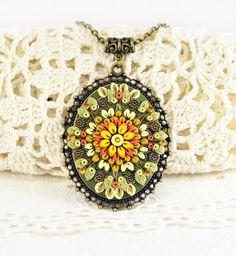 Ready to ship!- Pendant Applique Polymer clay jewelry Romantic Jewelry Oriental Jewelry bright ornament