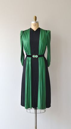 Belted Rayon Dress - c 1930s Fashion, Retro Fashion, Fashion Art, High Fashion, Vintage Fashion, Vestidos Vintage, Vintage Dresses, Vintage Outfits, Vintage Clothing