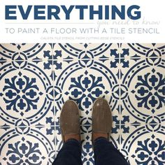 Floor Stencils Can Give Builder Beige Tiles A New Look Good morning, my Cutting Edge Stencils friends! Patterned tile floors are super trendy and also super pricey. Don't toss your tiled dreams aside before reading this painted floor tutorial! This project is an easy and affordable way to give
