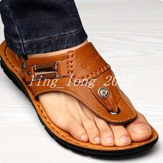 ed733974cee Details about top men s Beach chic PU leather thongs comfy flip flops  sandals hot casual shoes