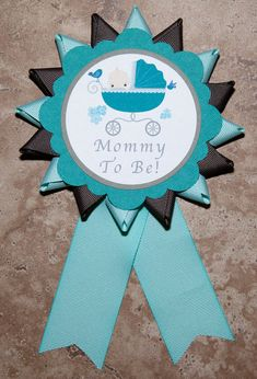 Baby Carriage Baby Shower themed button Teal by lovetiesbymeggin