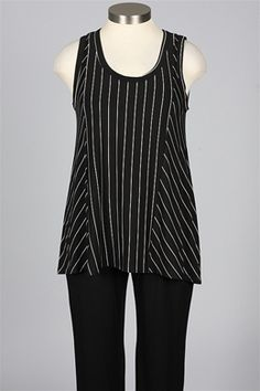 Comfy USA - Kathy Tank - Black & White Pinstripe, reverse direction of stripes in side panels
