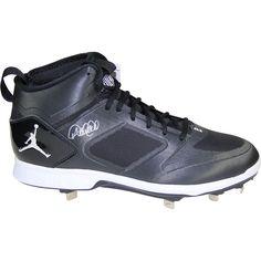 b0e82d257 DEREK JETER Signed Jordan Brand Black   White Lux Cleat STEINER.