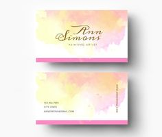 Yellow and Pink Business Card PSD by Emily's ART Boutique on @creativemarket
