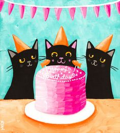 Happy Birthday Kitties - Original Cat Folk Art Painting