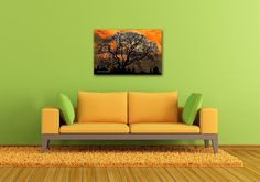 Dramatic Cloudy Sunset Oak Tree Photo on CANVAS Unframed Black Silhouette Orange Dark Masculine Wall Art Nature Landscape Gallery Wrap Print Ready to Hang 8x12 12x18 16x24 20x30. The sculptural aspect of this oak tree's bare branches is showed off in dramatic fashion against an intense sunset. Title: Altered Oak 3 This canvas will be carefully shipped to you from my USA professional canvas lab in sturdy moisture-resistant packaging. You will receive a signed Certificate of Authenticity…