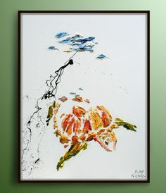 47 Calm Turtle  Beautiful Oil Painting by Koby by KobyFeldmos, $420.00